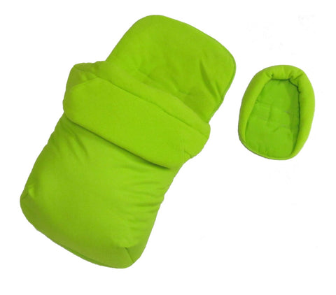 Footmuff Cosytoes & Head Hugger - Lime  Fits Silver Cross Pop