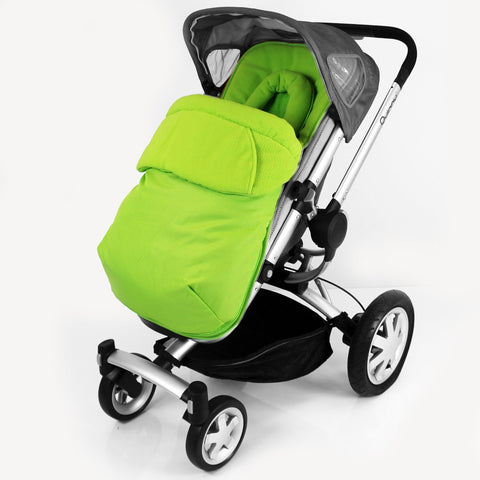 Luxury Fleece Lined Pushchair Footmuff (with Pouches) & Head Huger Lime Green