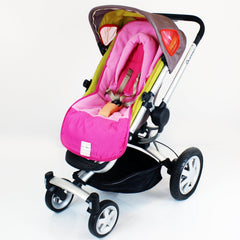 Luxury Fleece Lined Pushchair Footmuff (with Pouches) Head Huger Pink Raspberry - Baby Travel UK  - 2