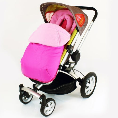 Luxury Fleece Lined Pushchair Footmuff (with Pouches) Head Huger Pink Raspberry