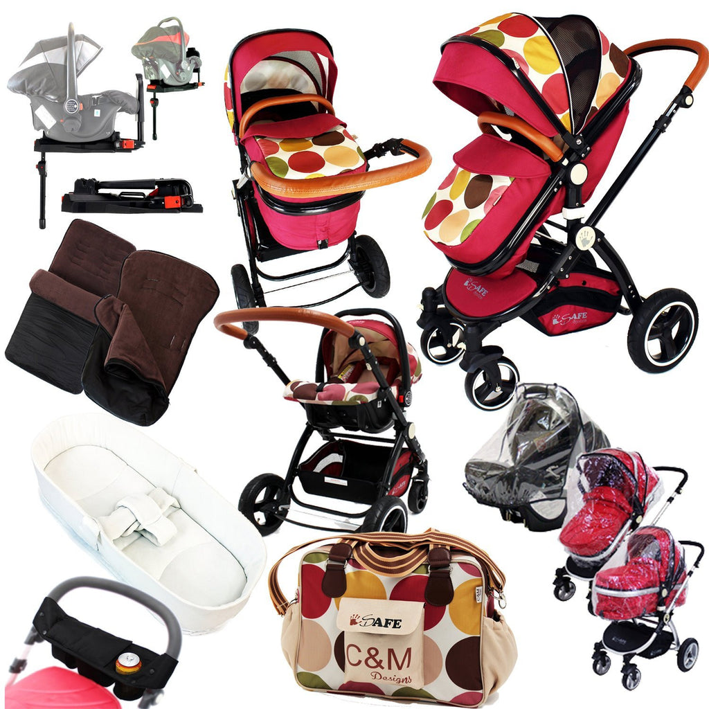 iSafe C&M Design 3in1 Complete Trio Travel System Pram & Luxury Stroller - Baby Travel UK  - 1