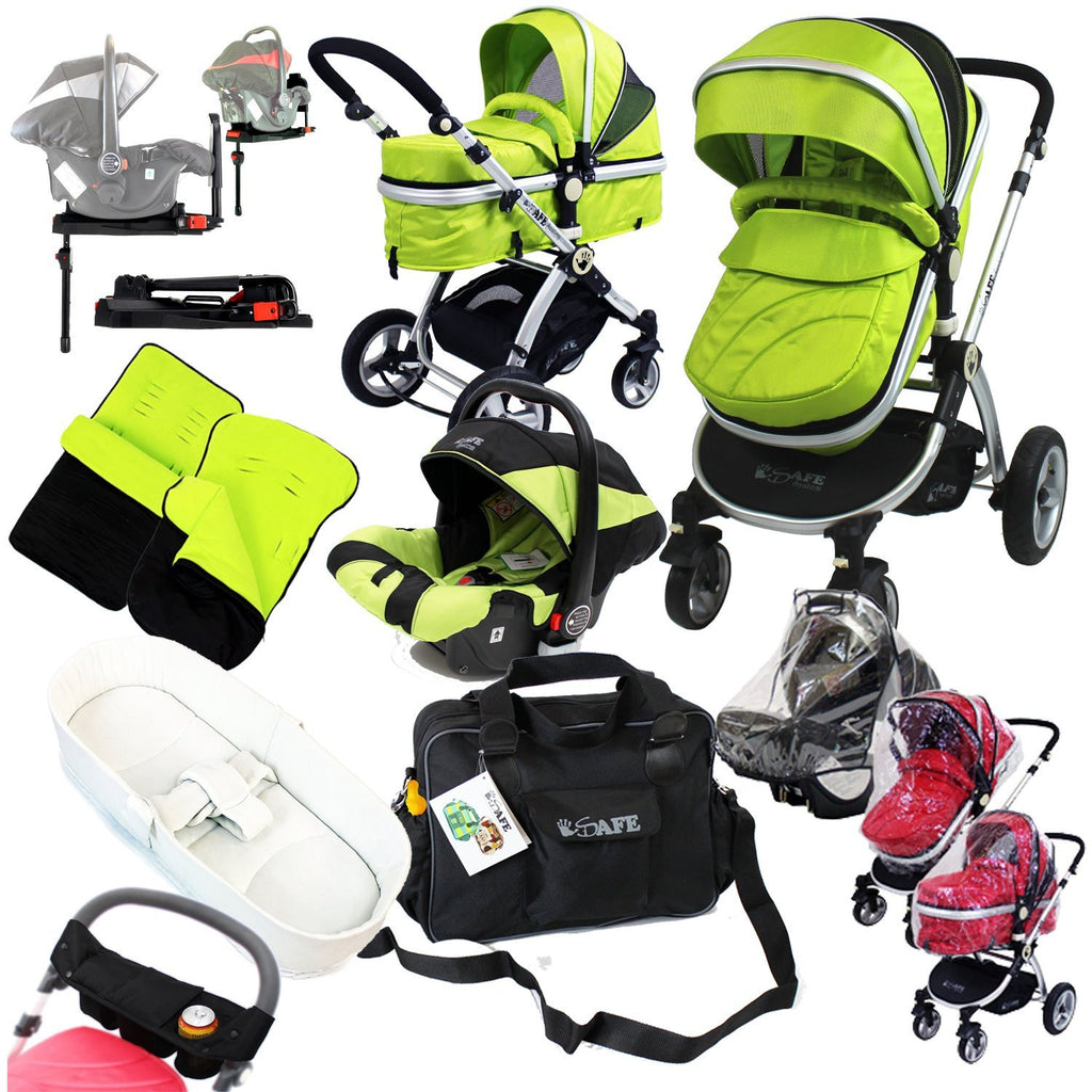 iSafe Complete 3in1 Trio Travel System Pram & Luxury Stroller - Lime - Baby Travel UK  - 1
