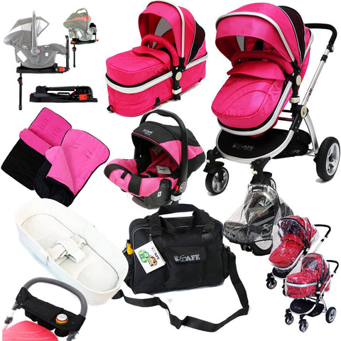 iSafe 3 in 1 Complete Trio Travel System Pram & Luxury Stroller Raspberry Pink