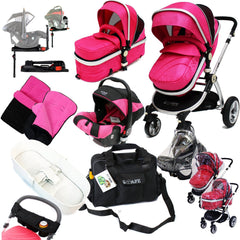 iSafe 3 in 1 Complete Trio Travel System Pram & Luxury Stroller Raspberry Pink - Baby Travel UK  - 1