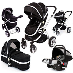 iSAFE 3in1 Black Pram System Bundle + Carseat + Noah Pod + Footmuffs + Changing Bag + Nursing Pillow