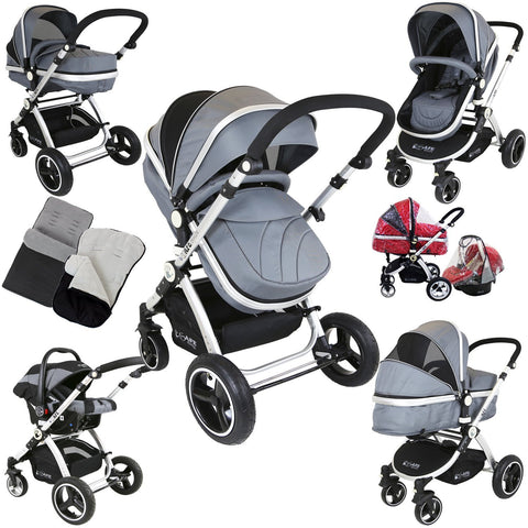 i-Safe System - Grey Trio Travel System Pram & Luxury Stroller 3 in 1 Complete With Car Seat + Footmuff + Carseat Footmuff + Rain Covers