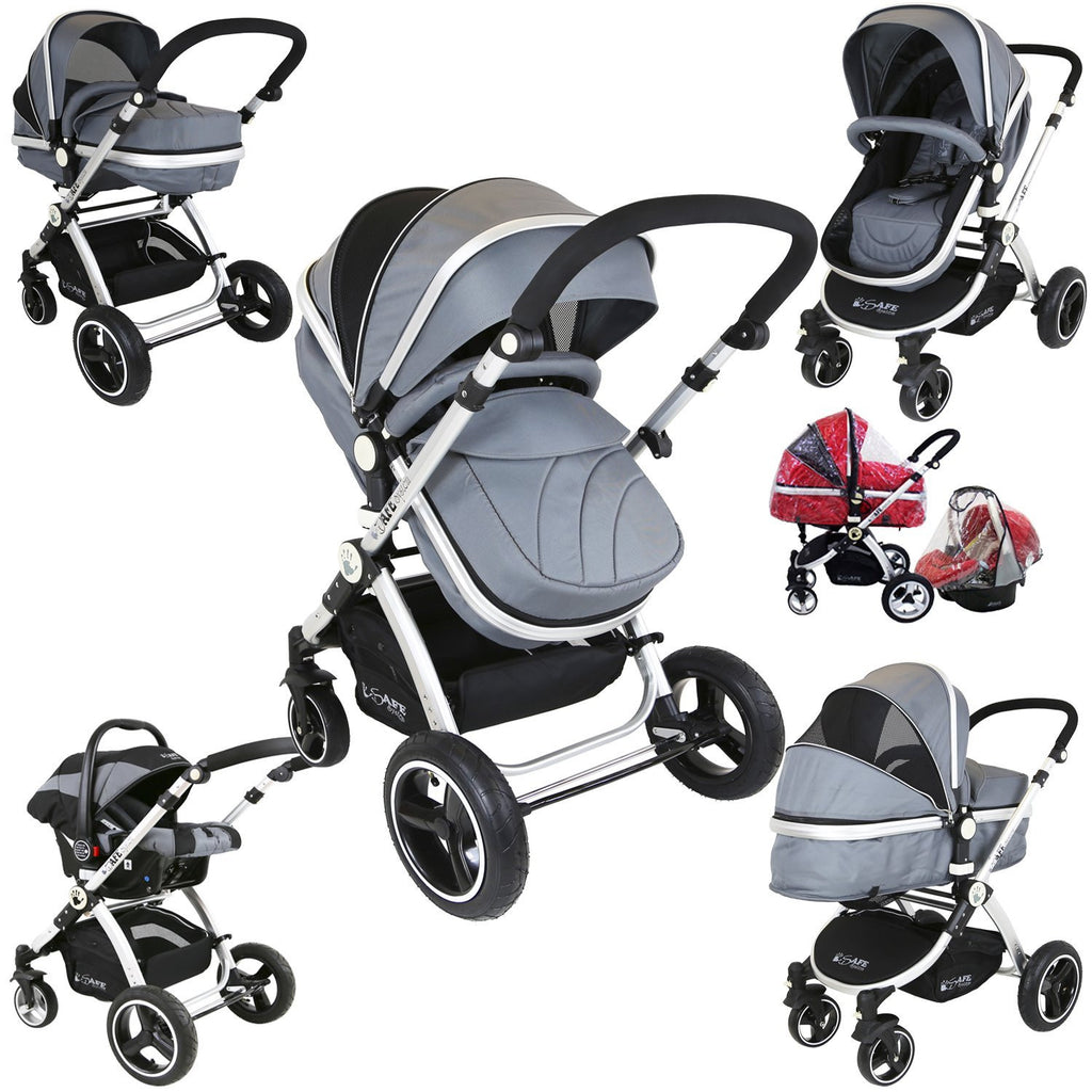 i-Safe System - Grey Trio Travel System Pram & Luxury Stroller 3 in 1 Complete With Car Seat + Rain Covers - Baby Travel UK  - 1