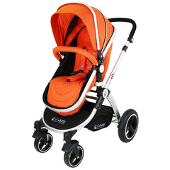 i-Safe System - Orange Trio Travel System Pram & Luxury Stroller 3 in 1 Complete With Car Seat + Rain Covers - Baby Travel UK  - 6