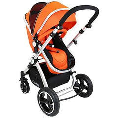 i-Safe System - Orange Trio Travel System Pram & Luxury Stroller 3 in 1 Complete With Car Seat + Rain Covers - Baby Travel UK  - 7