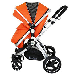 i-Safe System - Orange Trio Travel System Pram & Luxury Stroller 3 in 1 Complete With Car Seat + Rain Covers - Baby Travel UK  - 9