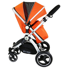 i-Safe System - Orange Trio Travel System Pram & Luxury Stroller 3 in 1 Complete With Car Seat + Rain Covers - Baby Travel UK  - 10