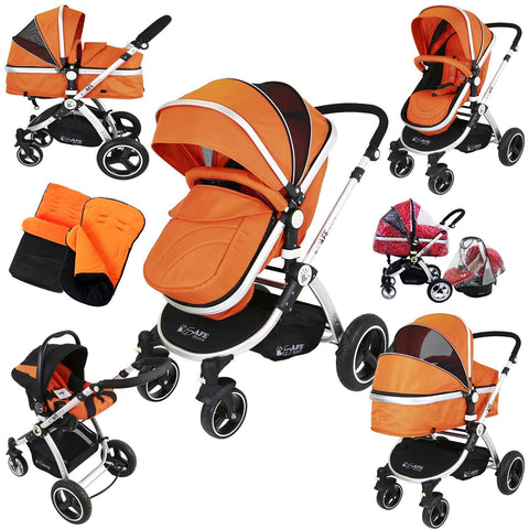 i-Safe System - Orange Trio Travel System Pram & Luxury Stroller 3 in 1 Complete With Car Seat + Footmuff + Carseat Footmuff & RainCovers