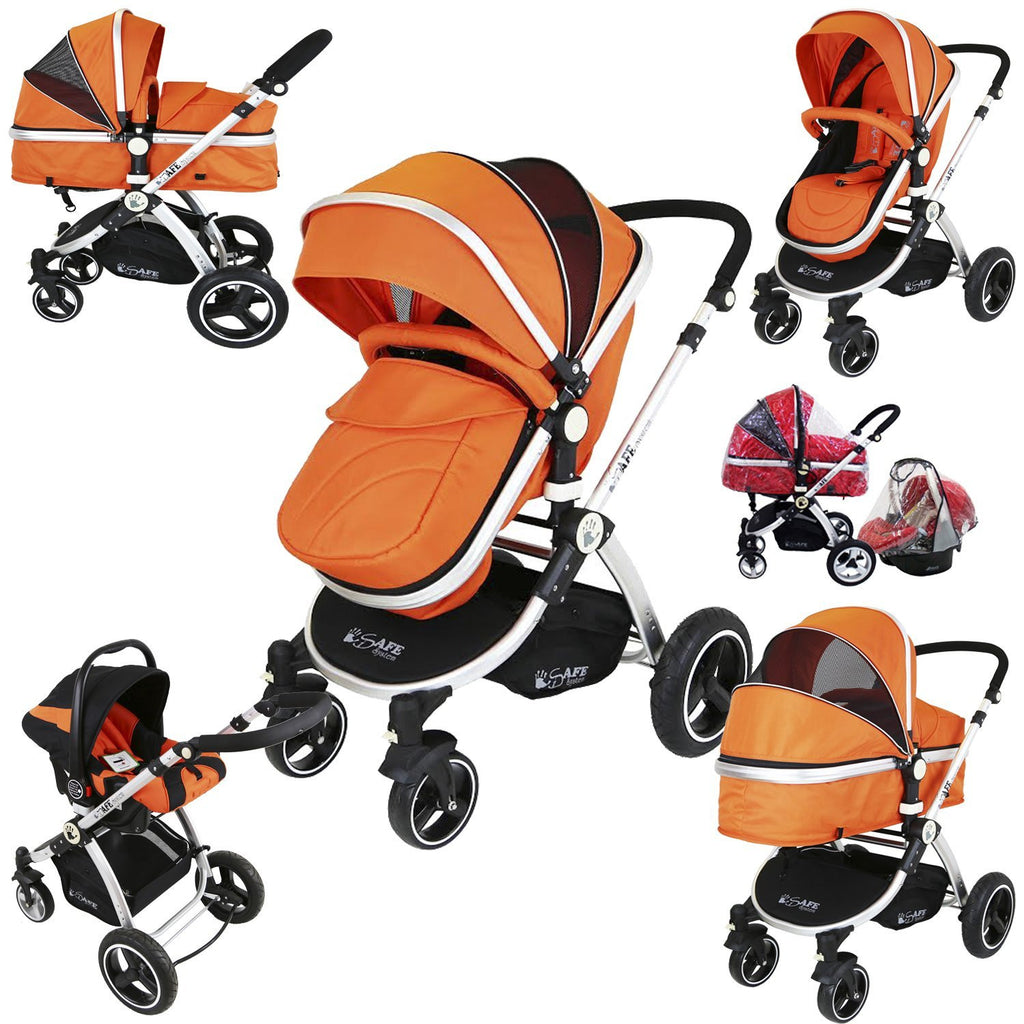 i-Safe System - Orange Trio Travel System Pram & Luxury Stroller 3 in 1 Complete With Car Seat + Rain Covers - Baby Travel UK  - 1