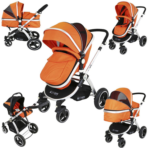 i-Safe System - Orange Trio Travel System Pram & Luxury Stroller 3 in 1 Complete With Car Seat