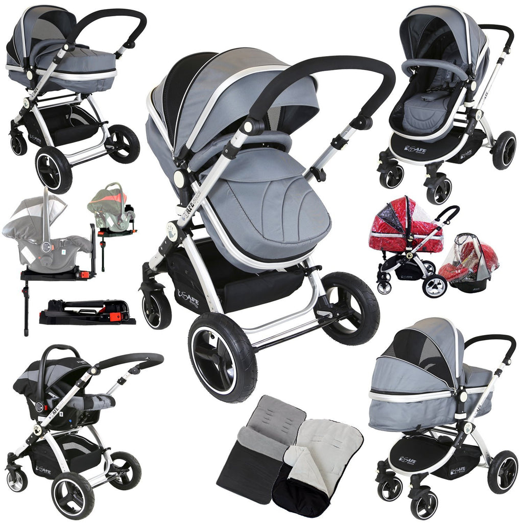 i-Safe System + iSOFIX Base - Grey Trio Travel System Pram & Luxury Stroller 3 in 1 Complete With Car Seat + Footmuff + Carseat Footmuff + RainCovers - Baby Travel UK  - 1