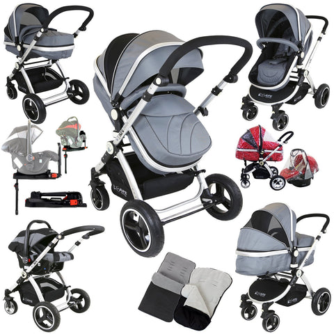 iSafe 3 in 1 Pram Travel System Grey  (With iSOFIX Base, Car Seat, Footmuff, Carseat Footmuff, Rain Covers)