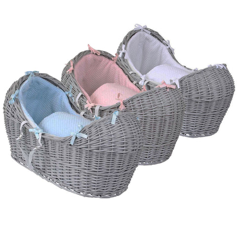 iSafe Wicker Pod Grey + Dimple Bedding