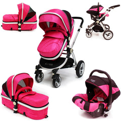 SALE!!! iSafe 3 in 1  Pram System - Raspberry Pink Pram Travel System + Carseat