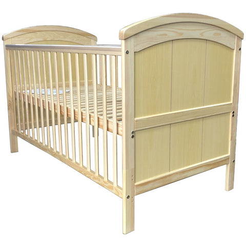 iSafe Liam Wooden Baby Cot Bed Converts to Junior Bed- Natural