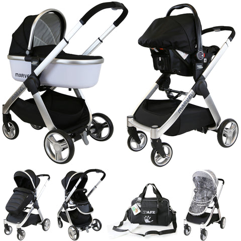 iSafe Marvel 3in1 Pram - Black Pearl Pram Travel System + Luxury Carrycot + Car Seat & Luxury Changing Bag
