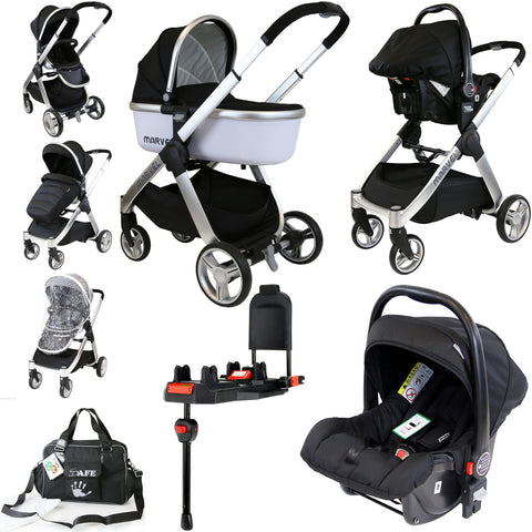 iSafe Marvel 3in1 Pram - Black Pearl Pram Travel System + Luxury Carseat + Carrycot + Isofix Base & Luxury Changing Bag