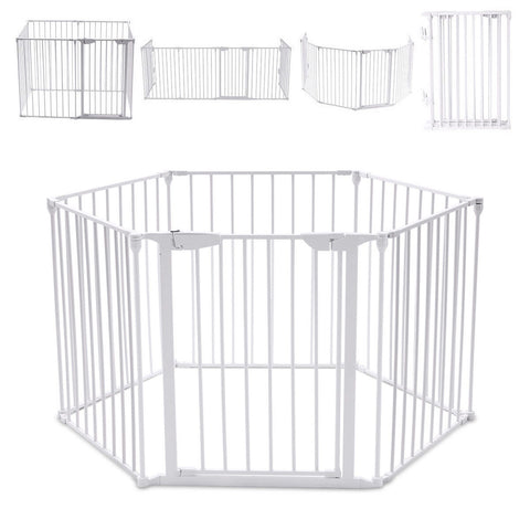 Baby Playpen 3 in 1 By iSafe Metal Or Fabric Fire Guard Room Divider Safety Gate (Metal)