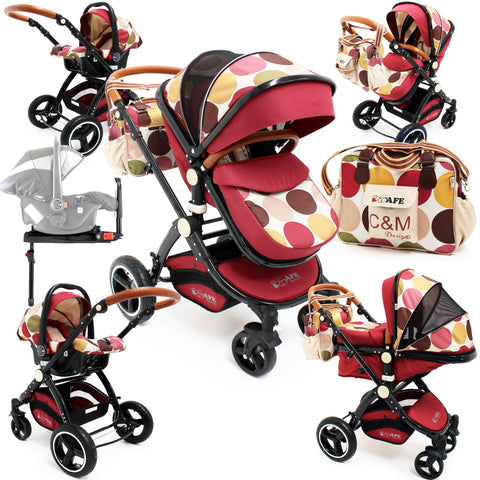 2018 iSafe Baby Pram System 3 in 1 Complete C&M Designs ISOFIX Base & Accessories