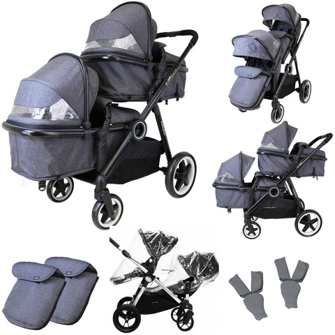 iSafe Tandem Double Pram Travel System - Pebble