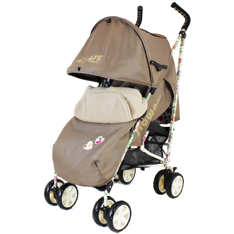 iSafe  - Flowers Stroller Buggy Pushchair Complete With Foot Muff And Head Huger