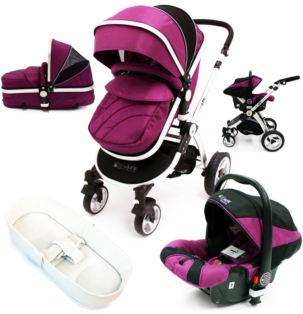 iSafe 3 in 1  Pram System - Plum (Purple) Travel System + Carseat + Bedding - Baby Travel UK  - 1