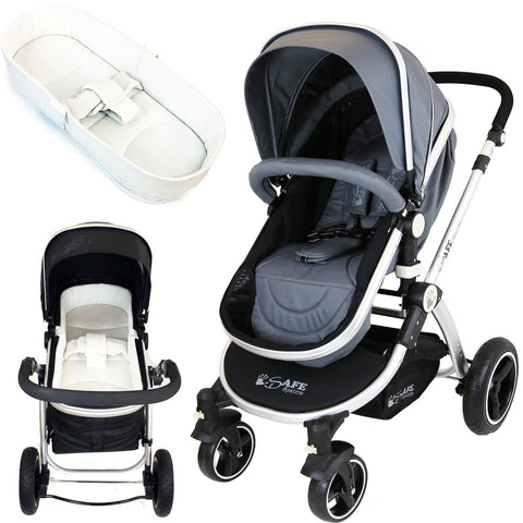 iSafe Baby Pram System 2in1 - Grey With  iSafe Luxury Bedding (Cream)