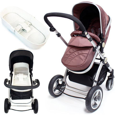 iSafe Baby Pram System 2in1 - Hot Chocolate + iSafe Luxury Bedding (Cream) And Raincover