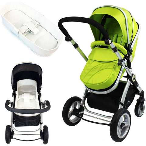 iSafe Baby Pram System 2in1 - Lime + iSafe Luxury Bedding (Cream)