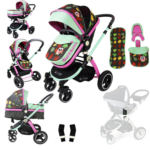 iSafe Baby Pram System 2in1 - Owl & Button Complete With Adaptors For Maxi Cosi Pebble Carseat