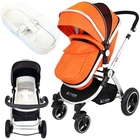 iSafe Baby Pram System 2in1 - Orange + iSafe Luxury Bedding (Cream)