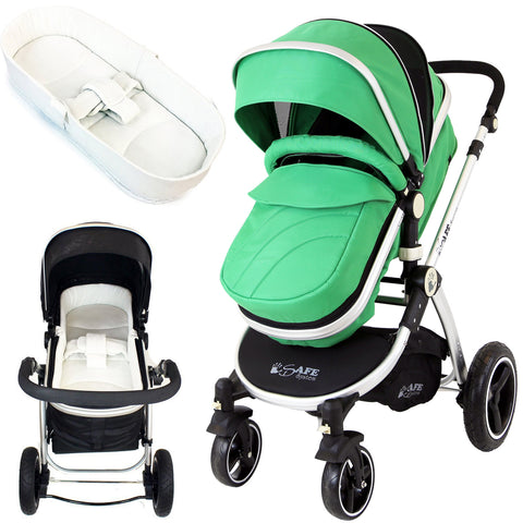 iSafe 2 in 1  Pram System - Leaf Complete With Raincover And Bedding