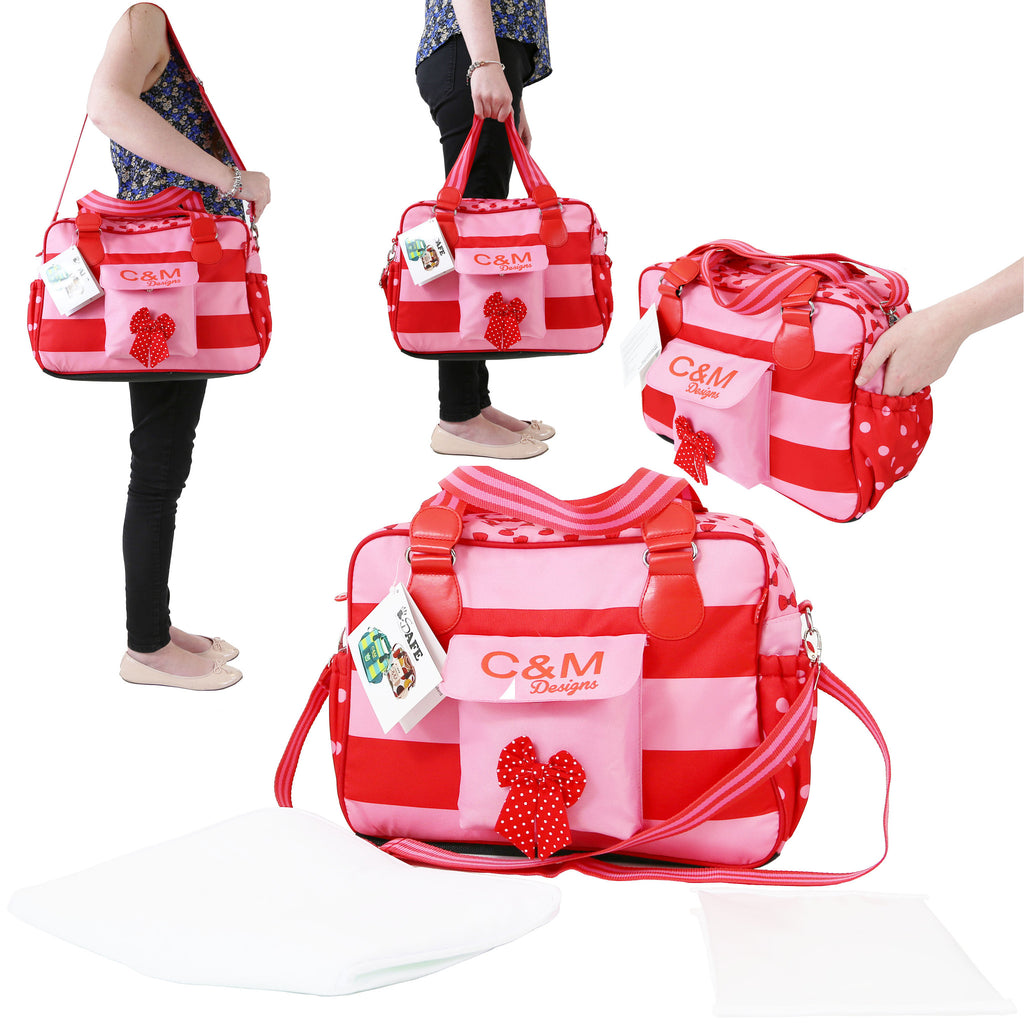 iSafe Changing Bag Luxury Quality (New Design ) - Bow Dots - Baby Travel UK  - 1