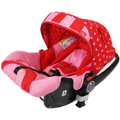 i-Safe System - Bow Dots Trio Travel System Pram & Luxury Stroller 3 in 1 Complete With Car Seat, Base, Bag, Bedding,Console Rain Covers & Foot Muffs - Baby Travel UK  - 19
