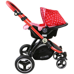 i-Safe System - Bow Dots Trio Travel System Pram & Luxury Stroller 3 in 1 Complete With Car Seat, Base, Bag, Bedding,Console Rain Covers & Foot Muffs - Baby Travel UK  - 20