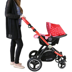 i-Safe System - Bow Dots Trio Travel System Pram & Luxury Stroller 3 in 1 Complete With Car Seat, Base, Bag, Bedding,Console Rain Covers & Foot Muffs - Baby Travel UK  - 21