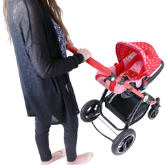 i-Safe System - Bow Dots Trio Travel System Pram & Luxury Stroller 3 in 1 Complete With Car Seat, Base, Bag, Bedding,Console Rain Covers & Foot Muffs - Baby Travel UK  - 22