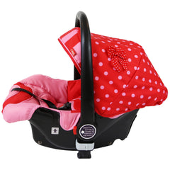 i-Safe System - Bow Dots Trio Travel System Pram & Luxury Stroller 3 in 1 Complete With Car Seat, Base, Bag, Bedding,Console Rain Covers & Foot Muffs - Baby Travel UK  - 14