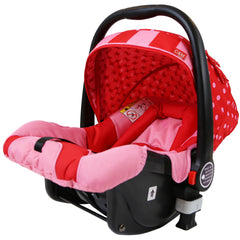 i-Safe System - Bow Dots Trio Travel System Pram & Luxury Stroller 3 in 1 Complete With Car Seat, Base, Bag, Bedding,Console Rain Covers & Foot Muffs - Baby Travel UK  - 24