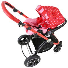 i-Safe System - Bow Dots Trio Travel System Pram & Luxury Stroller 3 in 1 Complete With Car Seat, Base, Bag, Bedding,Console Rain Covers & Foot Muffs - Baby Travel UK  - 15