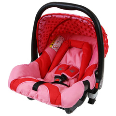 i-Safe System - Bow Dots Trio Travel System Pram & Luxury Stroller 3 in 1 Complete With Car Seat, Base, Bag, Bedding,Console Rain Covers & Foot Muffs - Baby Travel UK  - 23