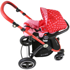 i-Safe System - Bow Dots Trio Travel System Pram & Luxury Stroller 3 in 1 Complete With Car Seat And ISOFIX Base - Baby Travel UK  - 18