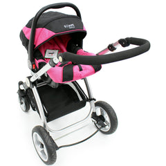 iSafe 3 in 1 - Pink (With Car Seat) Travel System Pram Options - Baby Travel UK  - 5