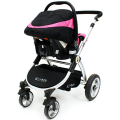 iSafe 3 in 1 - Pink (With Car Seat) Travel System Pram Options - Baby Travel UK  - 4