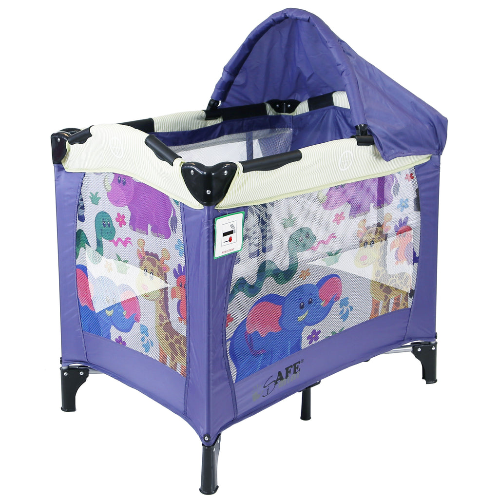 iSafe Mini Travel Cot With Bassinet And Canopy - Safari 81 x 56 x 84 cm - Baby Travel UK  - 1