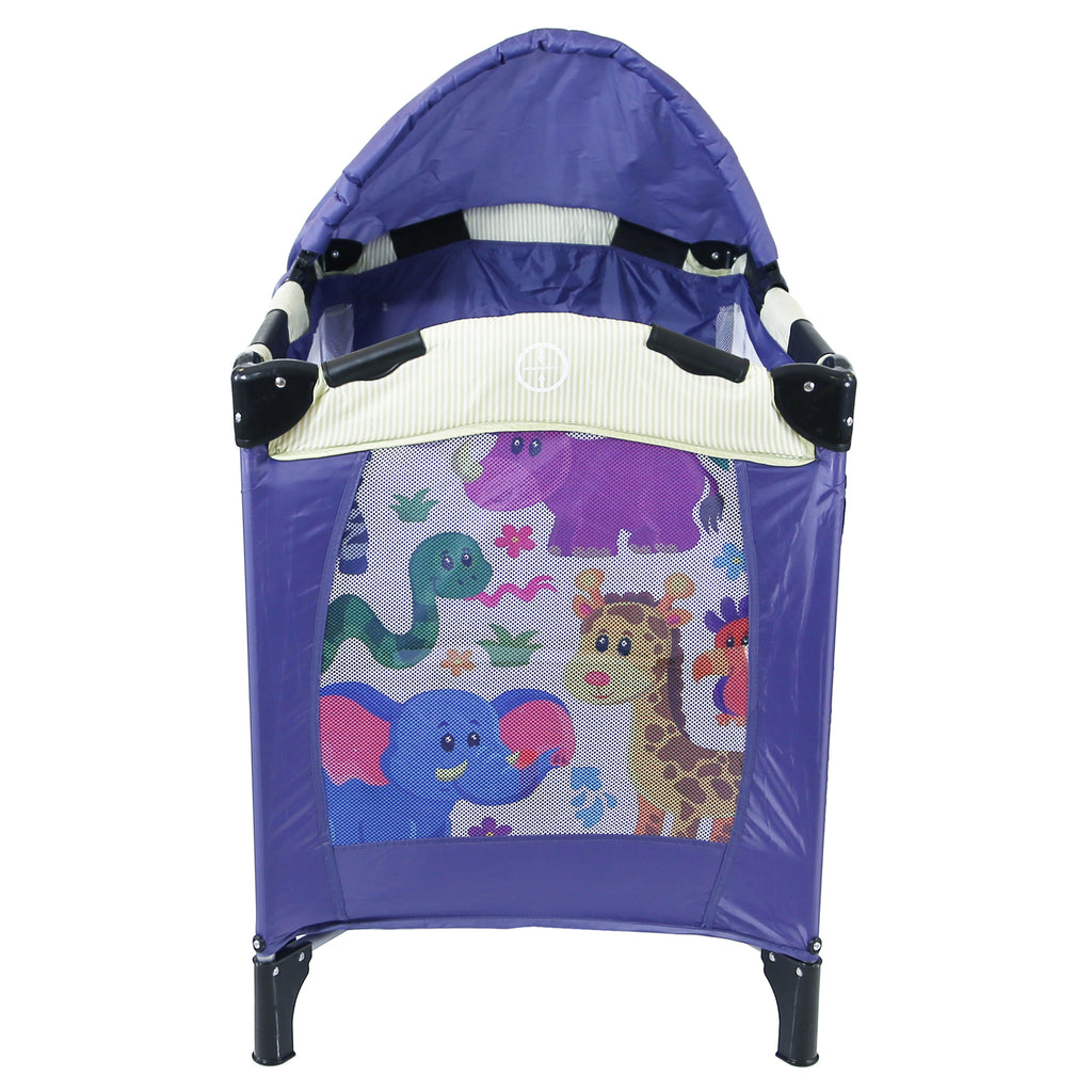 iSafe Mini Travel Cot With Bassinet And Canopy - Safari 81 x 56 x 84 cm - Baby Travel UK  - 2